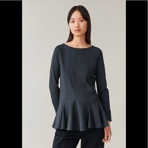 COS Top With Flared Hem In Blue